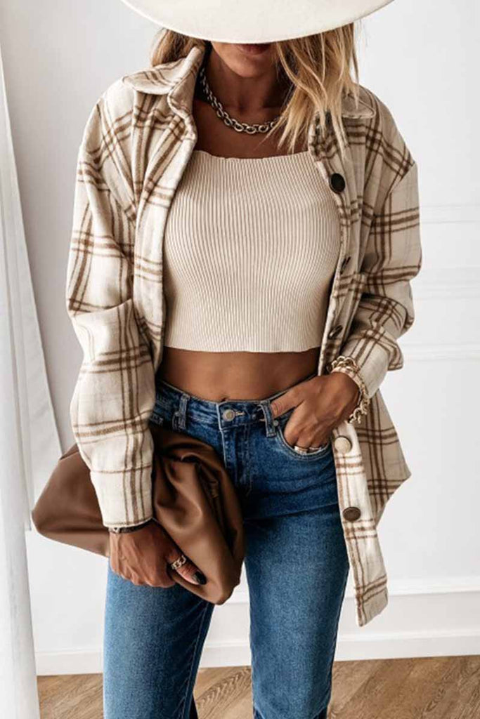 Florcoo Loose Retro Plaid Coat