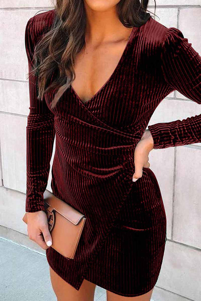 Florcoo Sexy V-Neck Buttocks Mini Dresses
