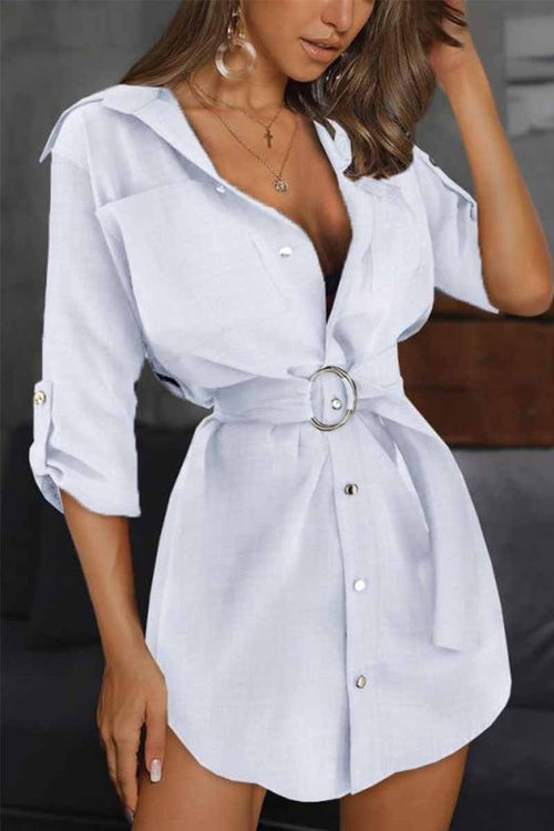 Florcoo Pure Color Casual Sleeve Sleeve Tie Mini Dresses