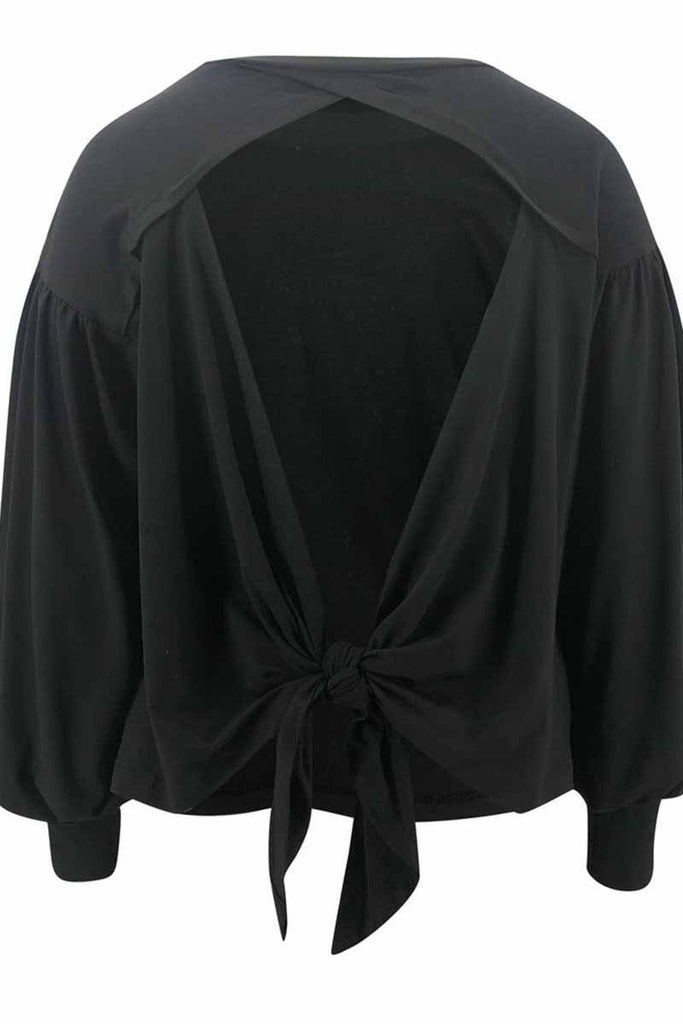 Florcoo Lantern Sleeve Cutout Open Back Tie Detail Blouse