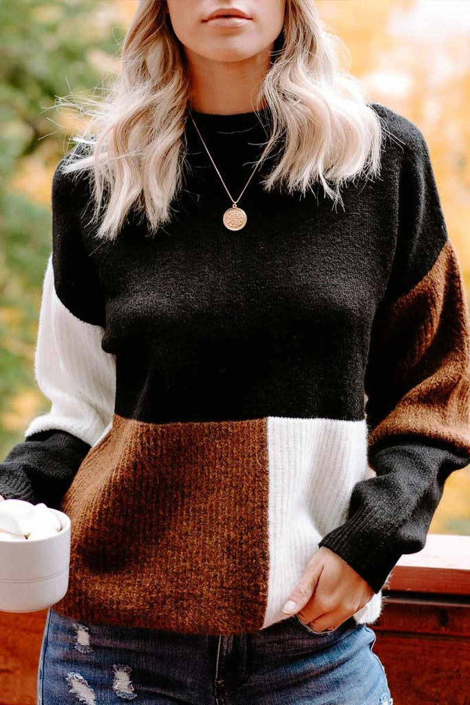 Florcoo Contrasting Color High Neck Knitted Sweater