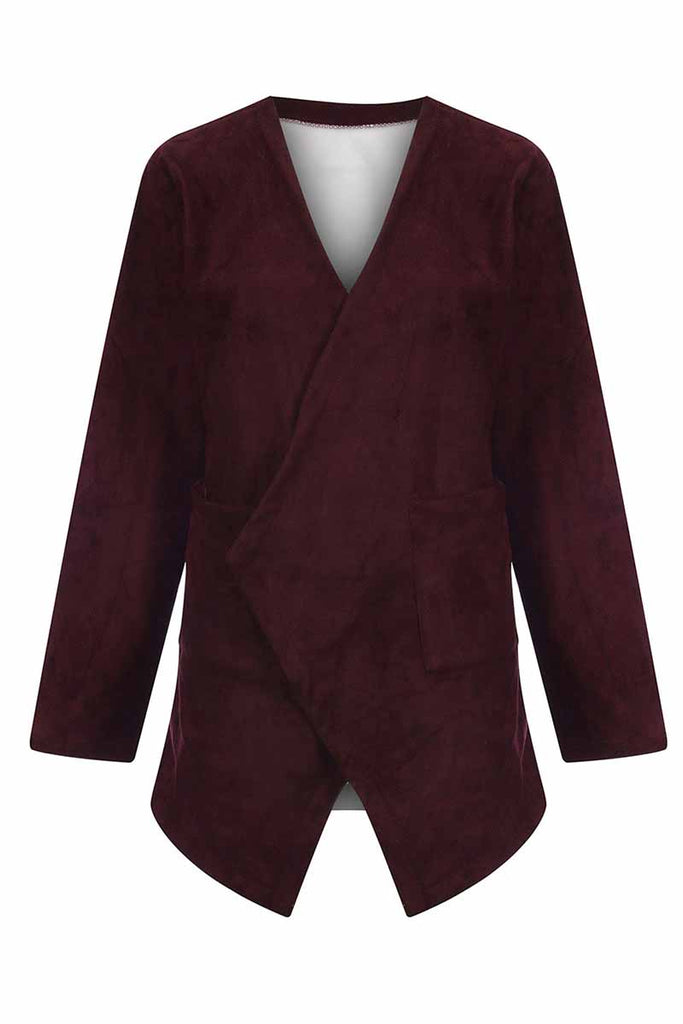 Florcoo long sleeve Solid Color Velvet Coat