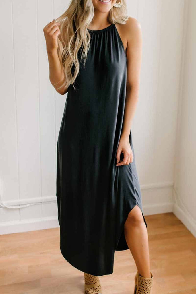 Florcoo Loose Sexy Solid Color Sling Midi Dress
