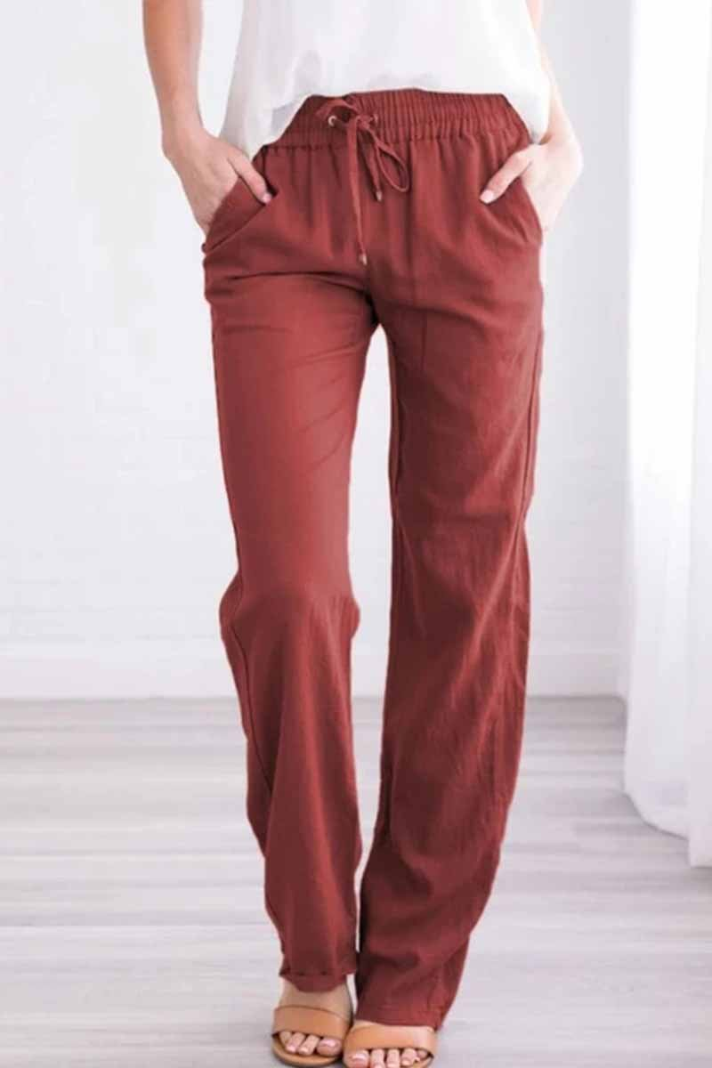 Florcoo Pockets Drawstring Solid Loose Casual Fall Pants