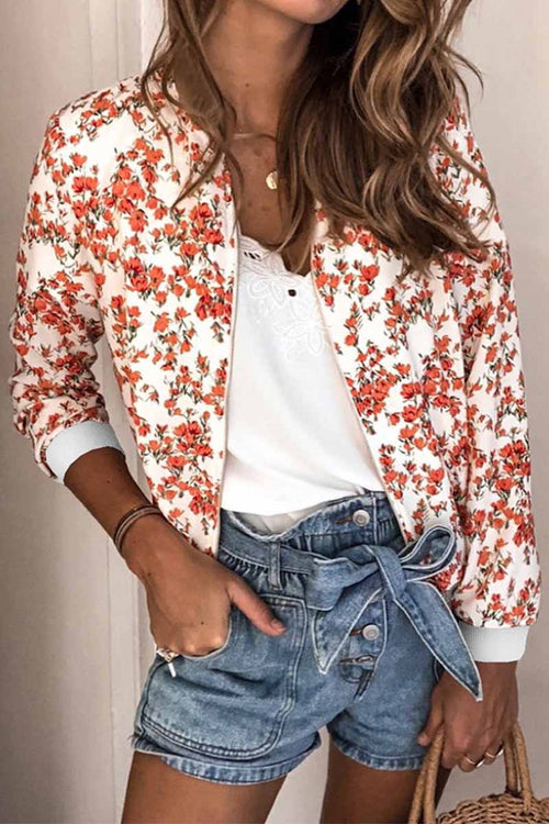 Florcoo Casual Fashion Printed Round Neck Long Sleeve Jacket