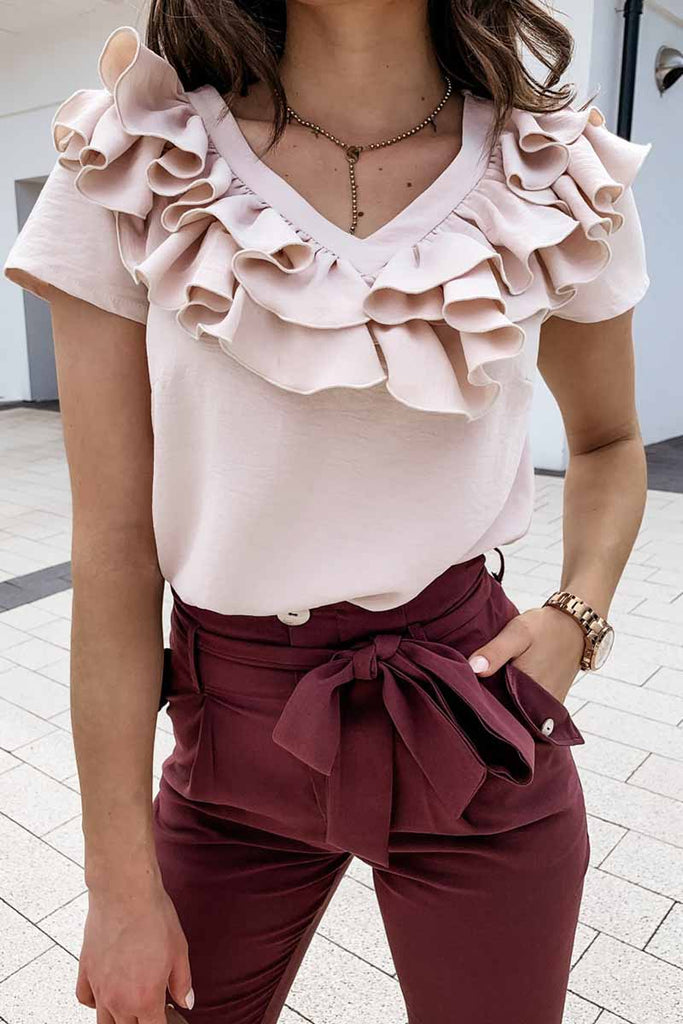 Florcoo V Neck Ruffled Solid Tshirt