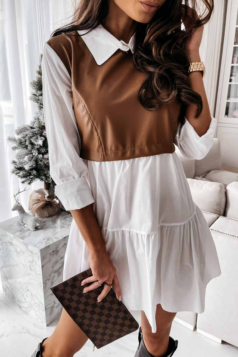 Florcoo Shirt skirt and leather stitching Mini Dress