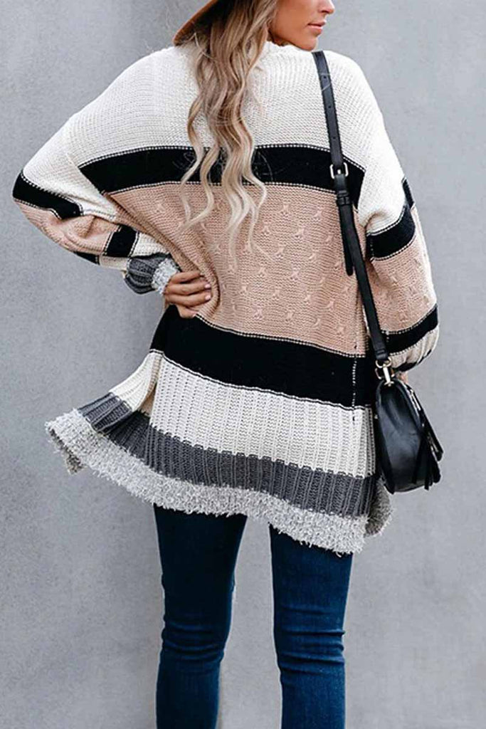 Florcoo Autumn And Winter Contrast Sweater Coat