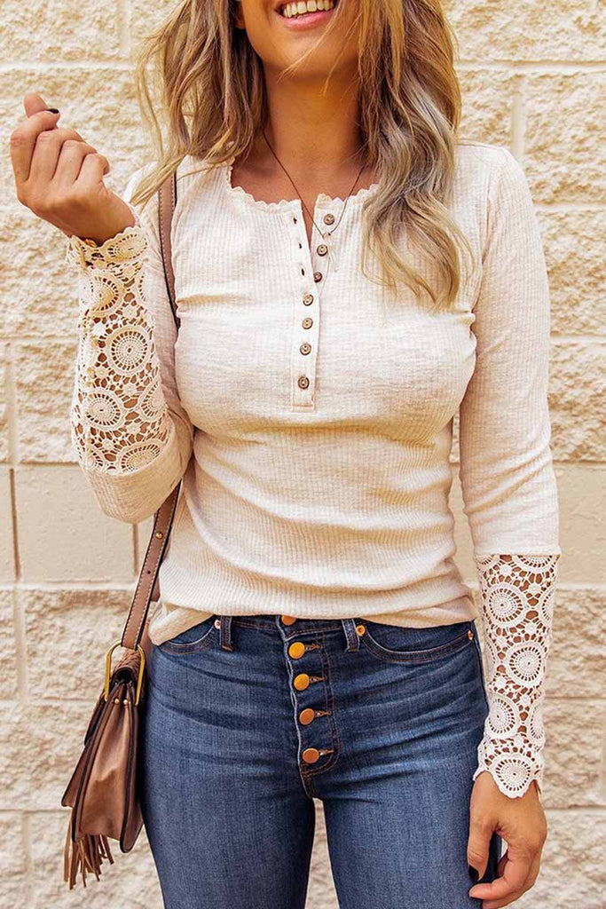 Florcoo Pure Color Casual Large Size Loose Cuff Lace Shirt