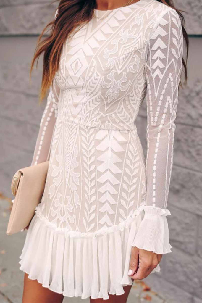 Florcoo Pure Color Jacquard Round Neck Long Sleeve Lace Mini Dresses
