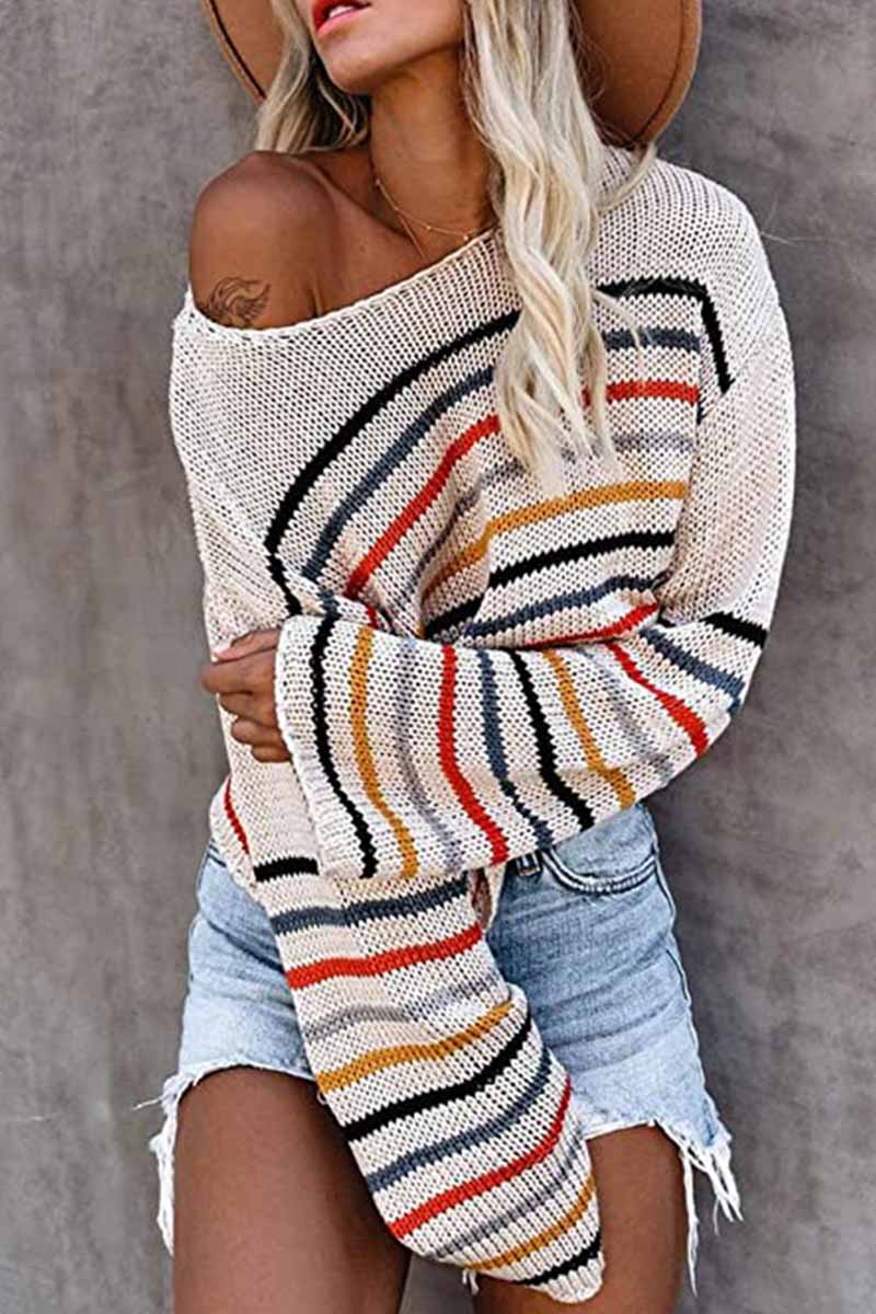 Florcoo Fashion Colorful Pattern One-Neck Strapless Sweater