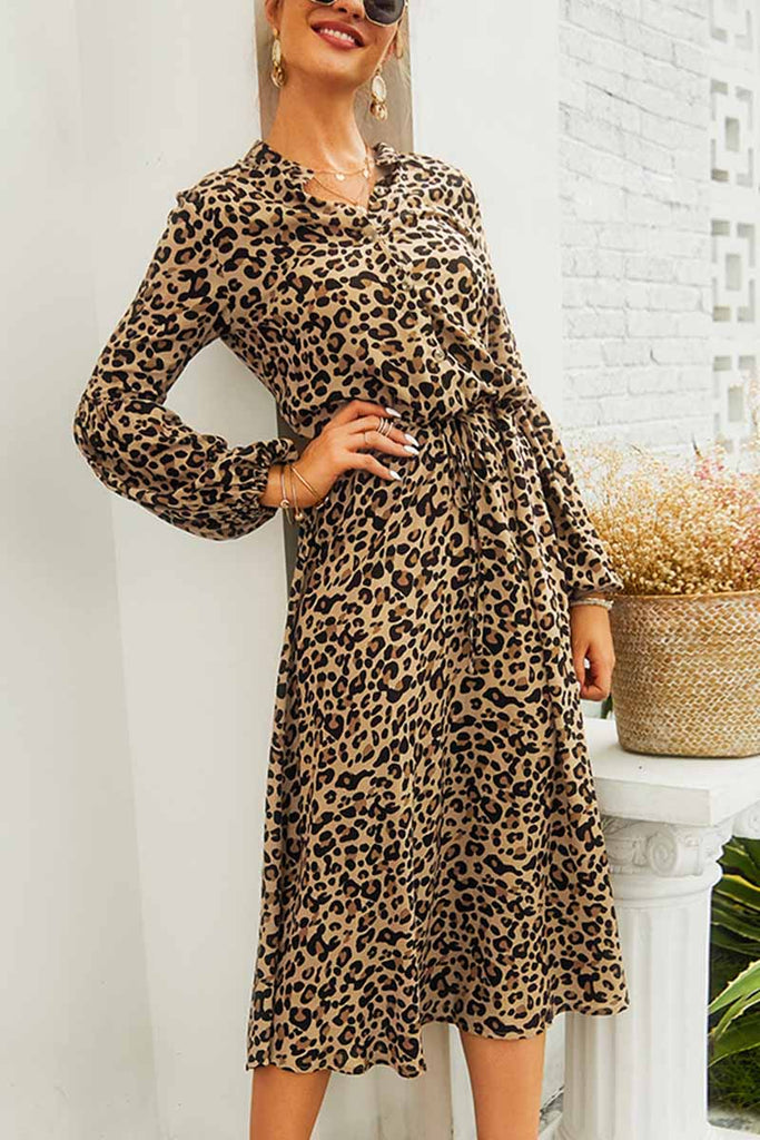 Florcoo Leopard Print V-neck Elegant Midi Dress