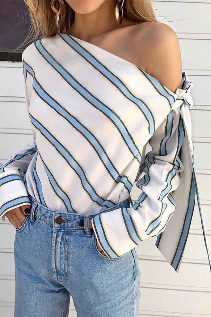 Florcoo Slanted Shoulder Striped Top