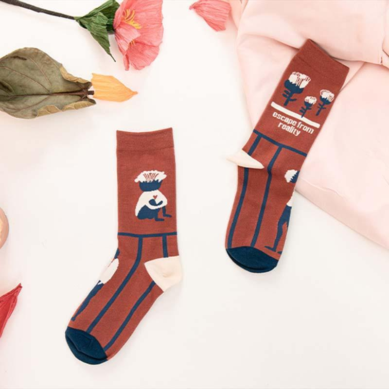 Florcoo Illustration Pattern Socks