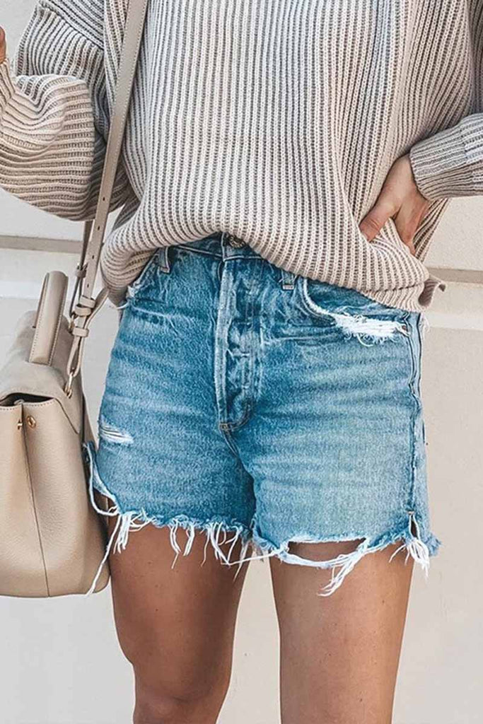 Florcoo Casual Bibbed Jeans Shorts