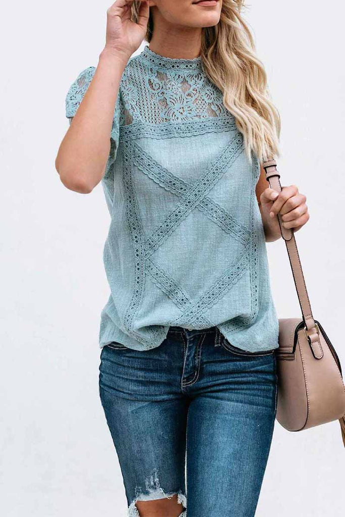 Florcoo Summer Geometric Stitching Lace Short Sleeves Tops (6 Colors)