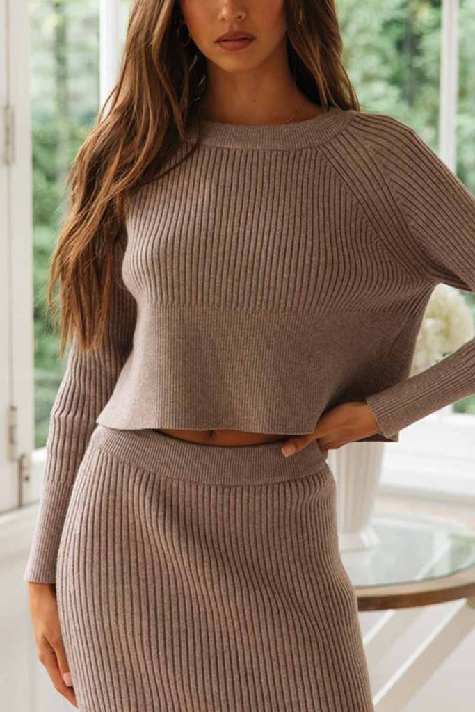 Florcoo Knitted Solid Color Sweater Skirt Suit