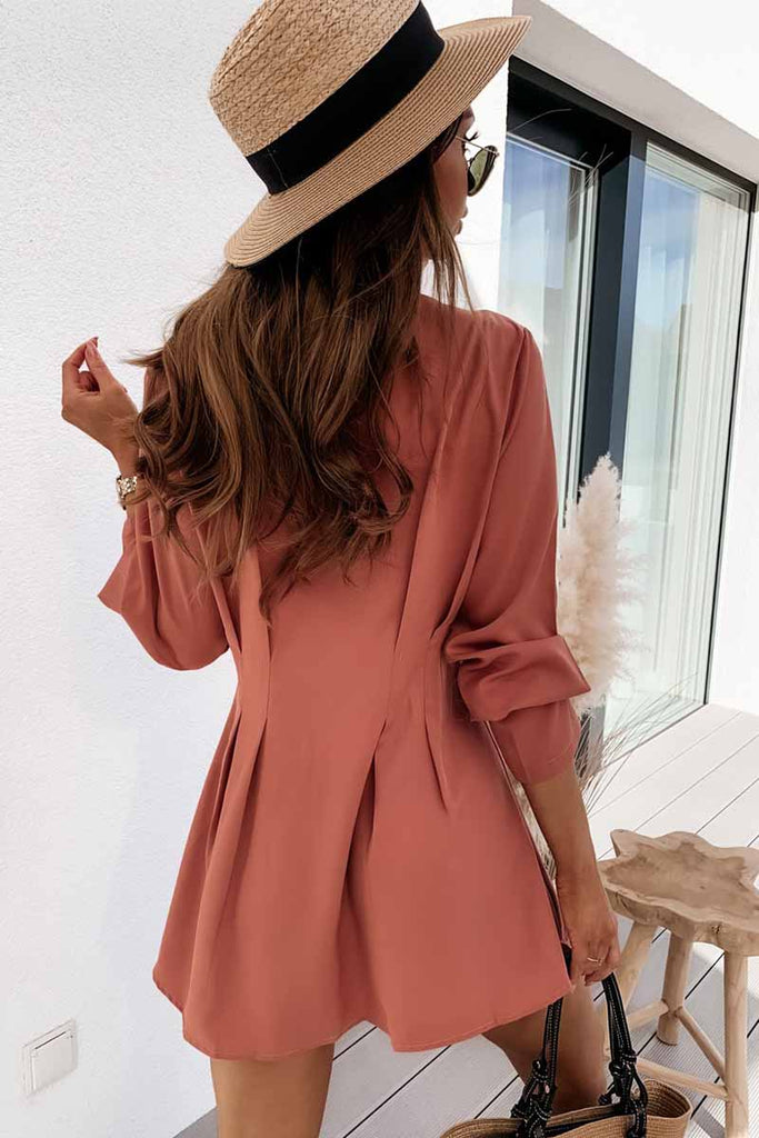 Florcoo V-neck Button Long Sleeve Mini Dress