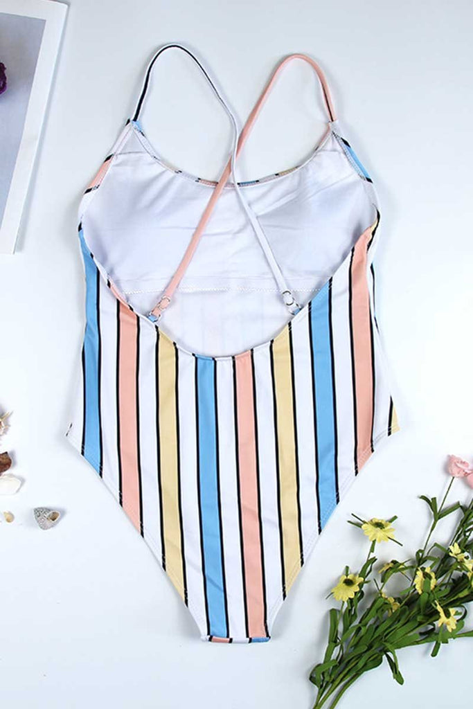 Florcoo Striped Bikini Swimsuit