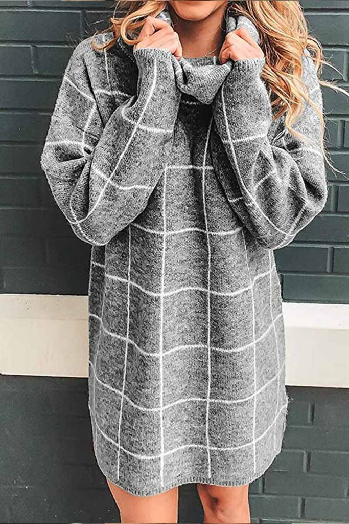 Florcoo High Collar Plaid Loose Mini Dress