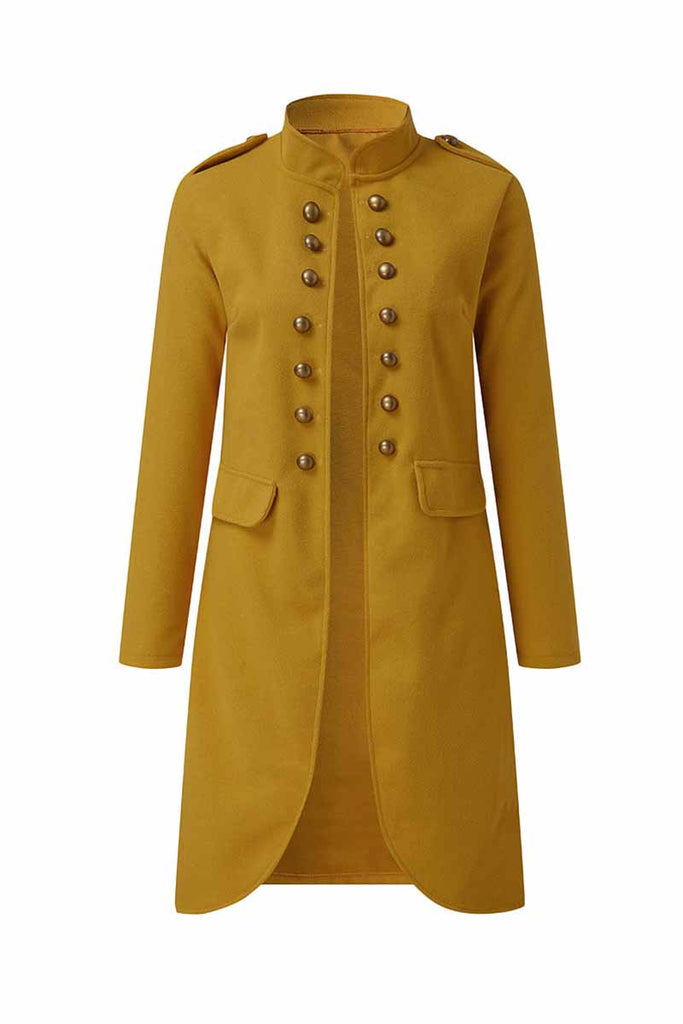 Florcoo Long Sleeve Woolen Button Coat