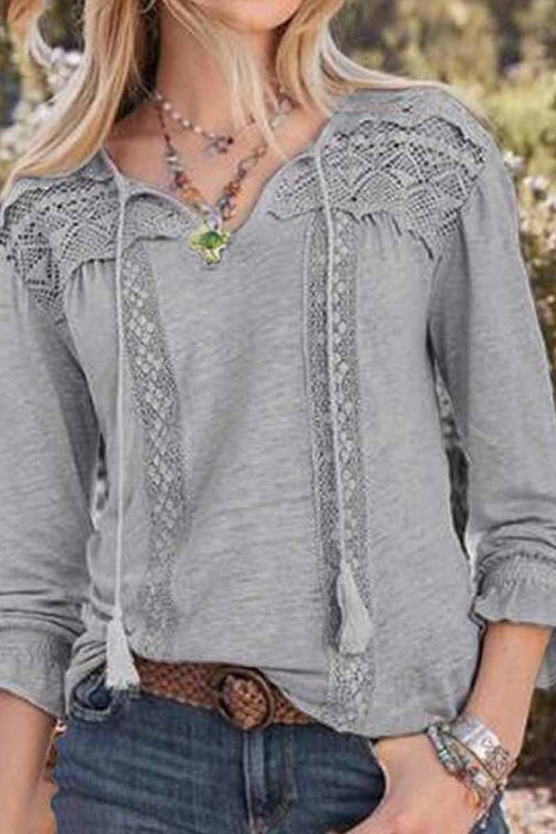 Florcoo Casual Solid Color Lace Hollow V-neck Tops