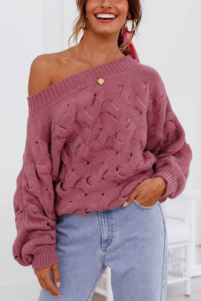 Florcoo Strapless Hollow Lantern Sleeve Sweater
