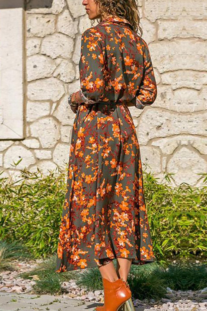 Florcoo Printed Long Sleeve 4 Colors Midi Dress