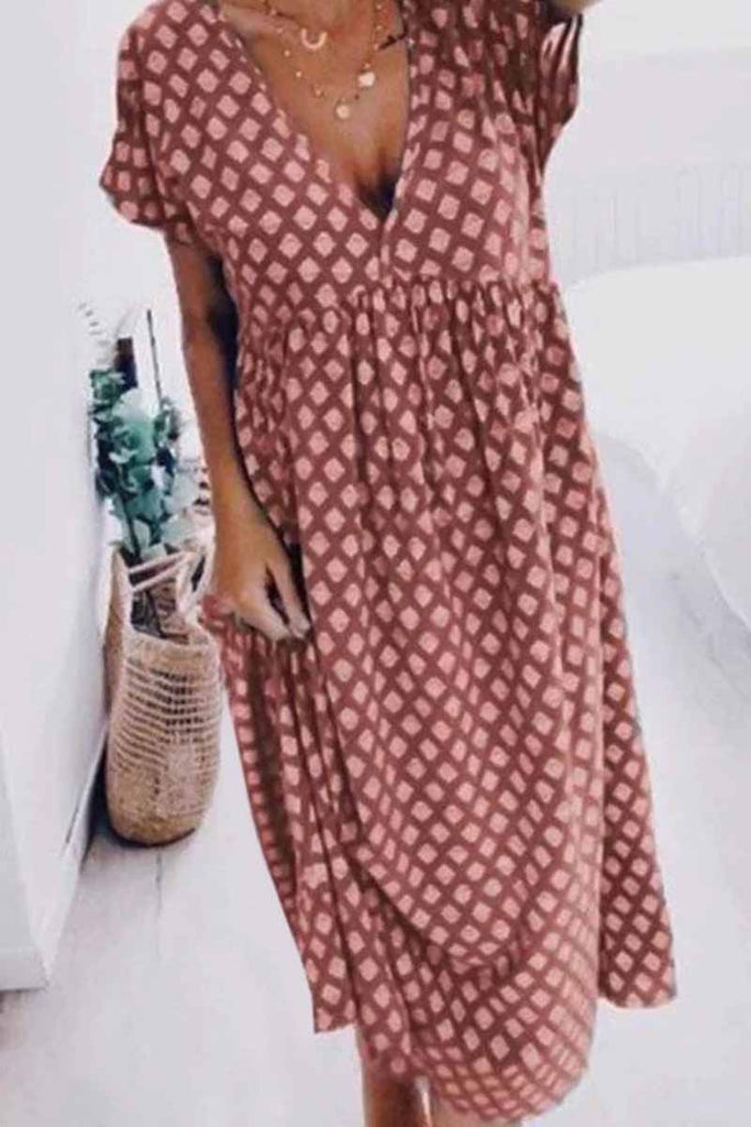 Florcoo Dot Summer Mid Dress With V Neck