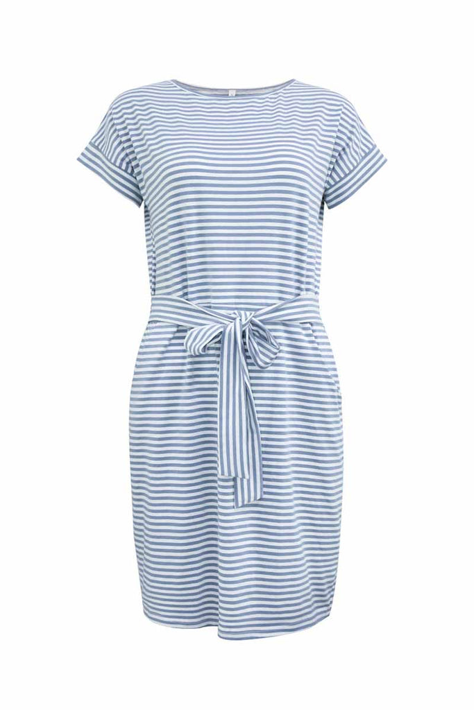 Florcoo Striped Knot Design Grey Midi Dress