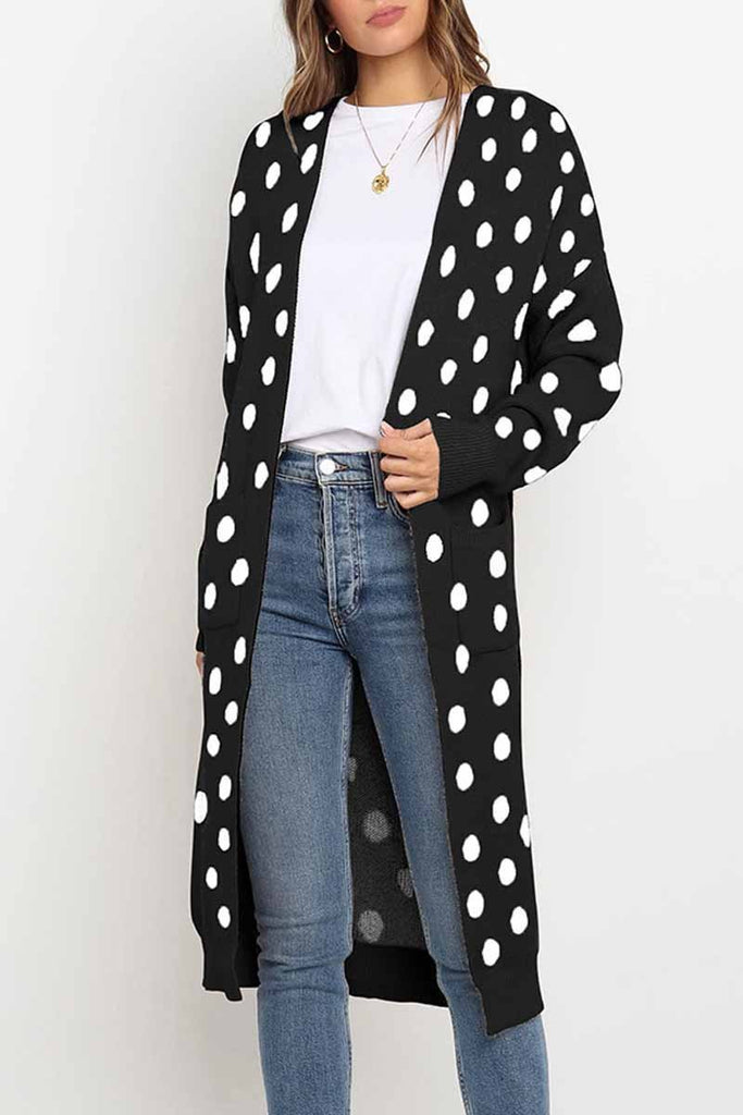 Florcoo Dot Print Sweet Comfy Cardigan Tops Sweater(2 Colors)