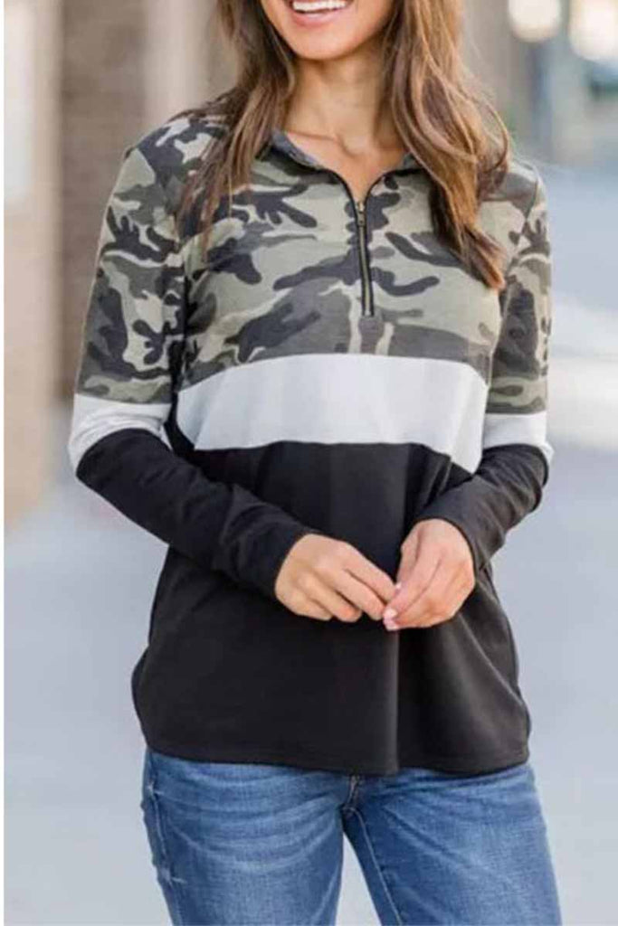 Florcoo Camouflage Print Zipper Top