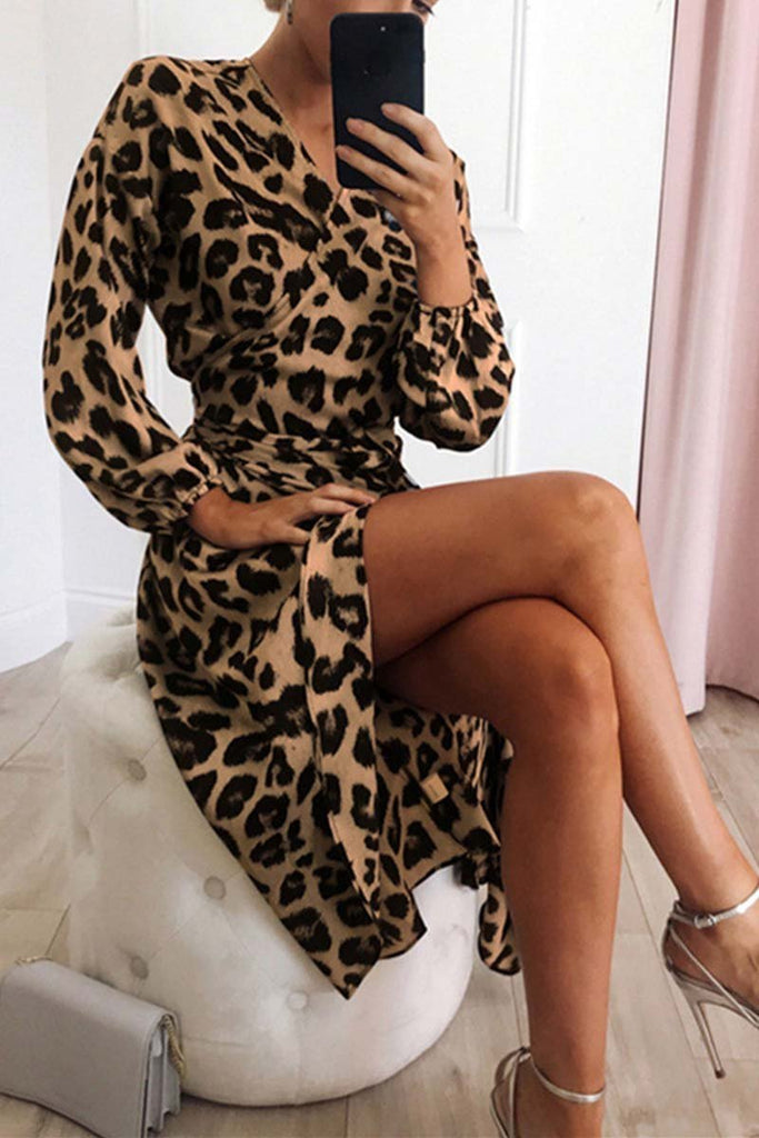 Florcoo V Neck Sexy Leopard Dress