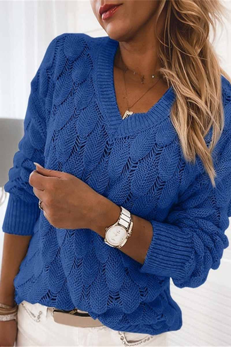 Florcoo Loose V-neck Feather Solid Color Sweater