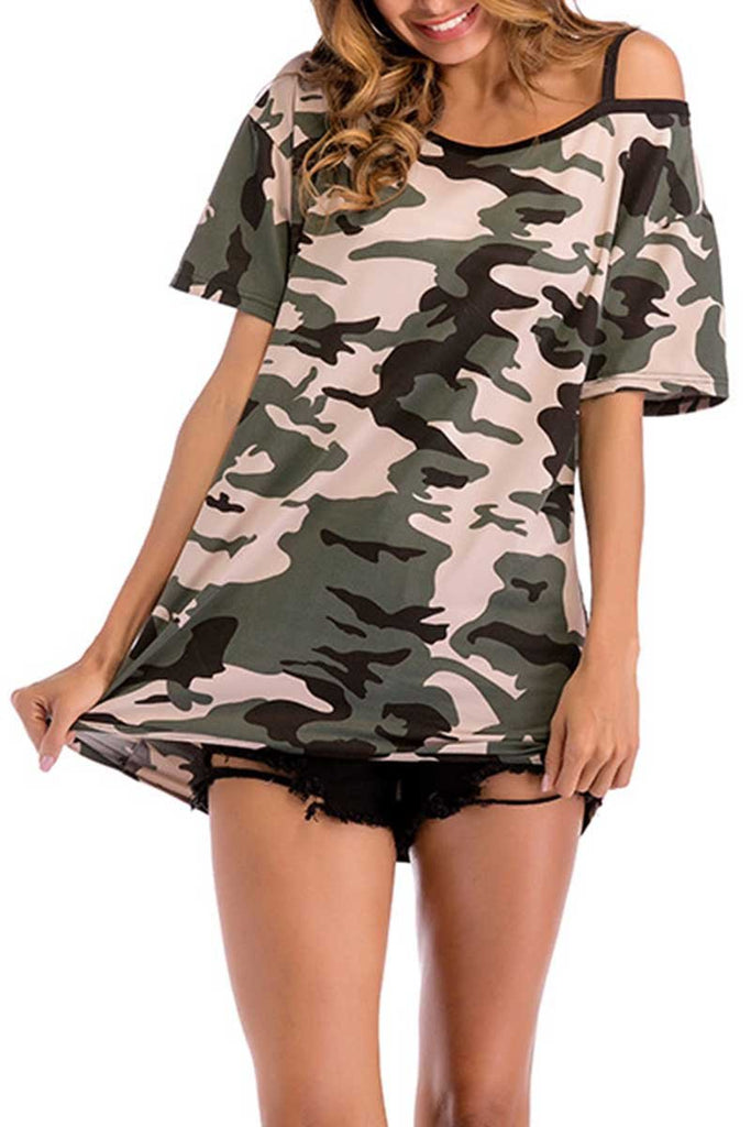 Florcoo Camouflage Strapless T-shirt