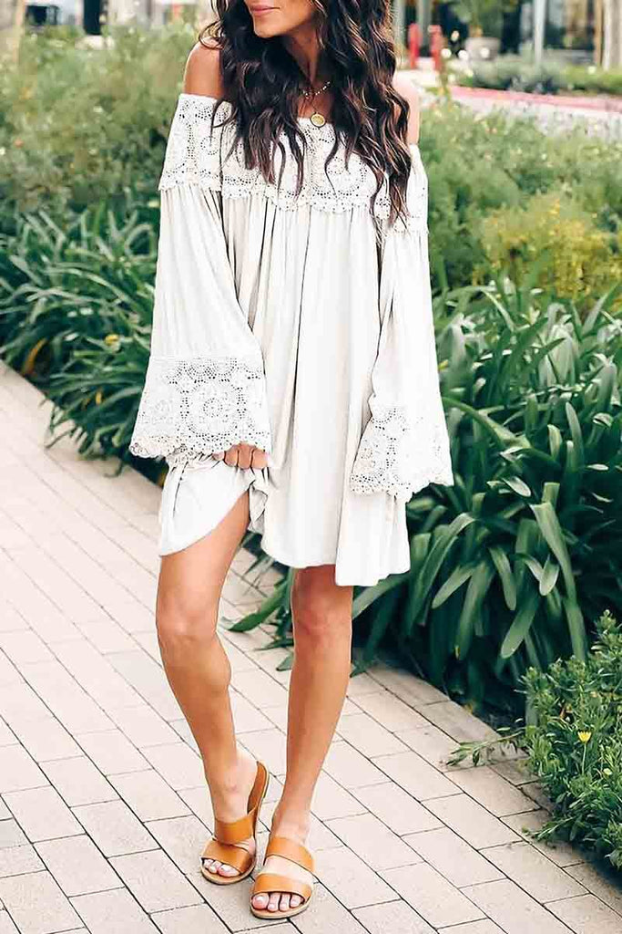Florcoo Off-shoulder Lace Stitching Dress