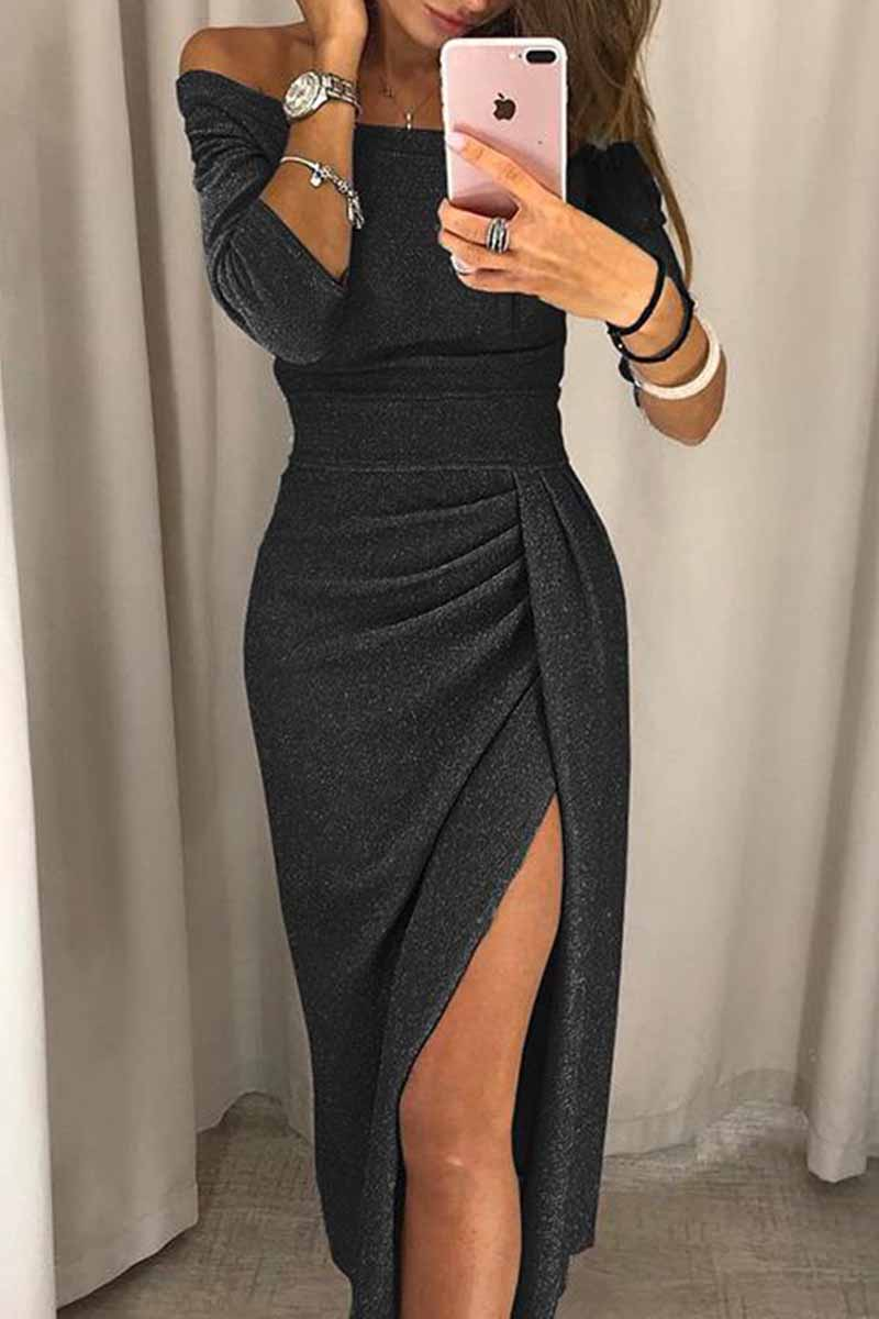 Florcoo Wrap Hip Slit Collar Maxi Dresses