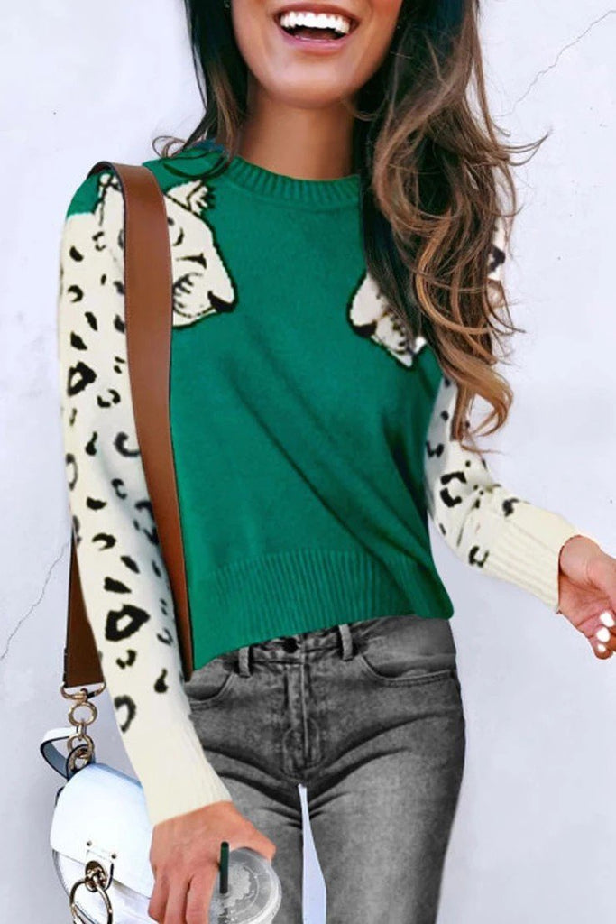 Florcoo Snow Leopard Design Knit Sweater