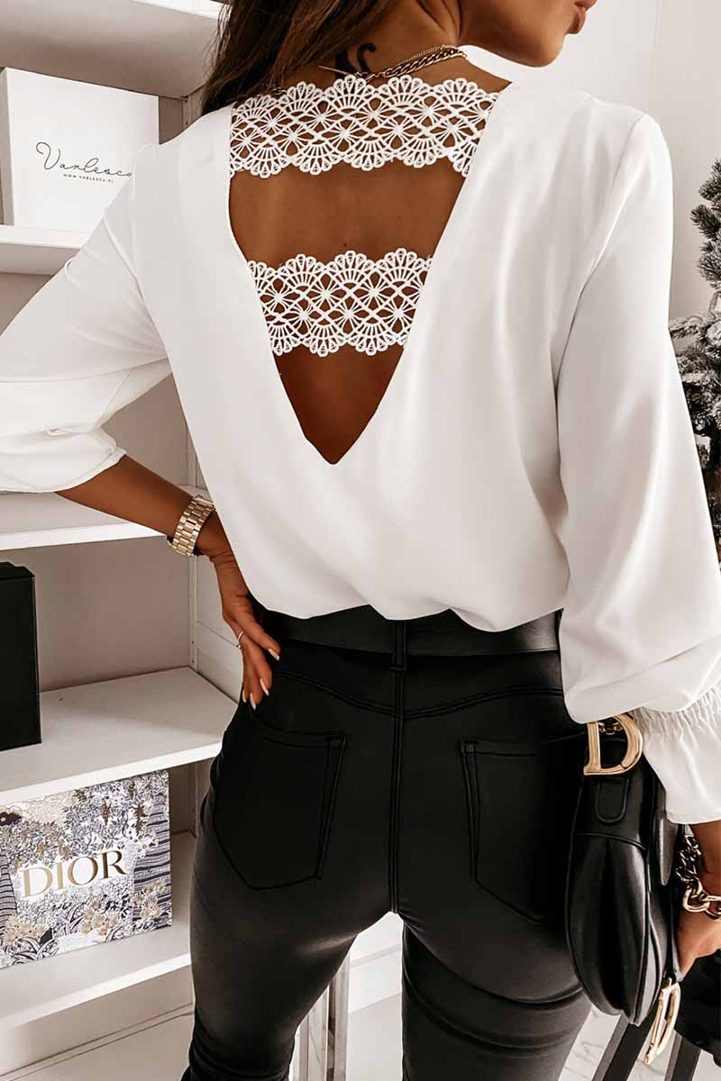 Florcoo Lace long sleeve V-neck Tops