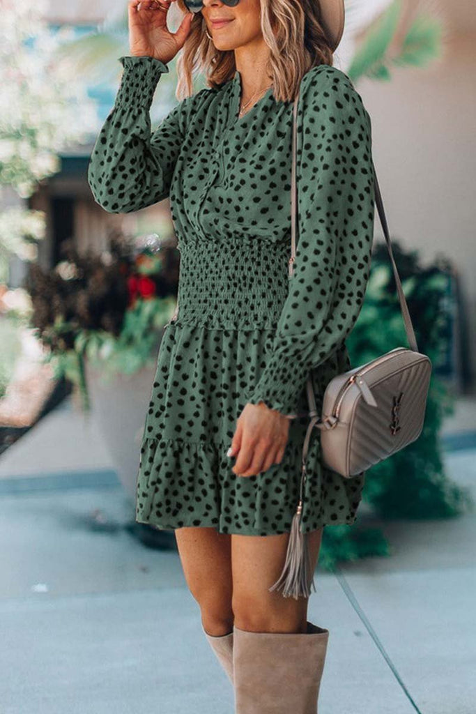 Florcoo Printing Spotted Dress with Belt