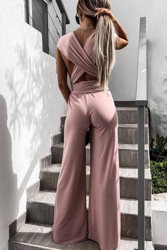 Florcoo Sleeveless Solid Color Tie Rompers