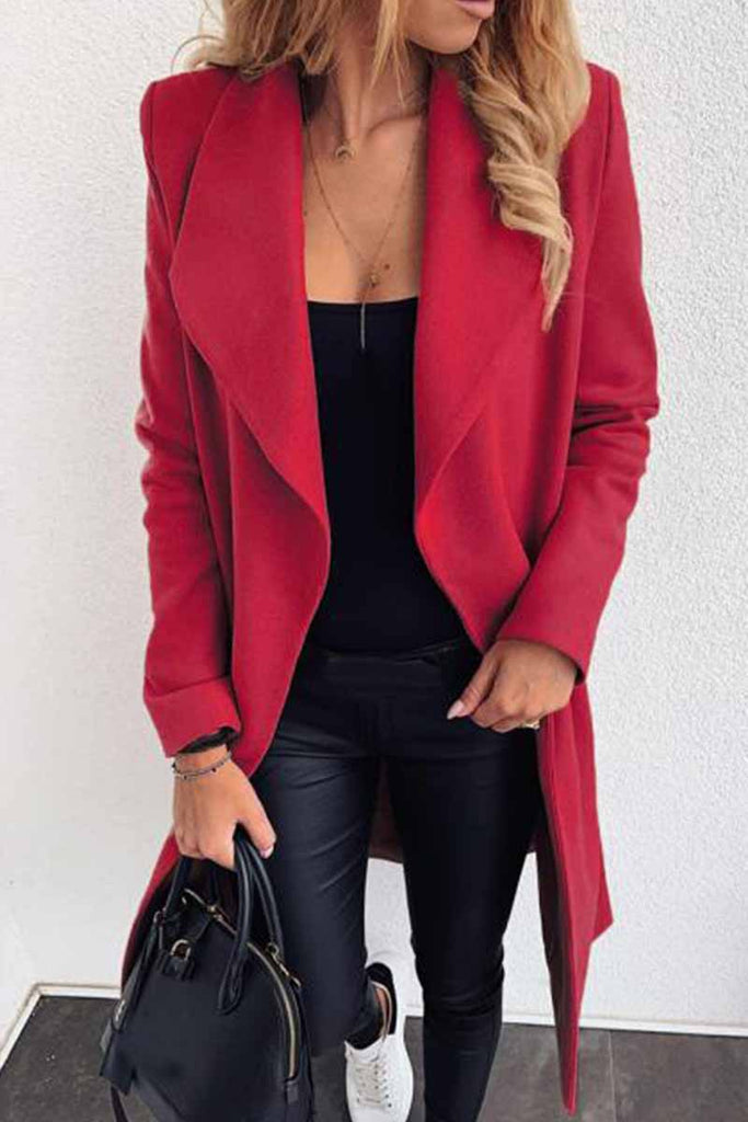 Florcoo Lapel Solid Color Coat