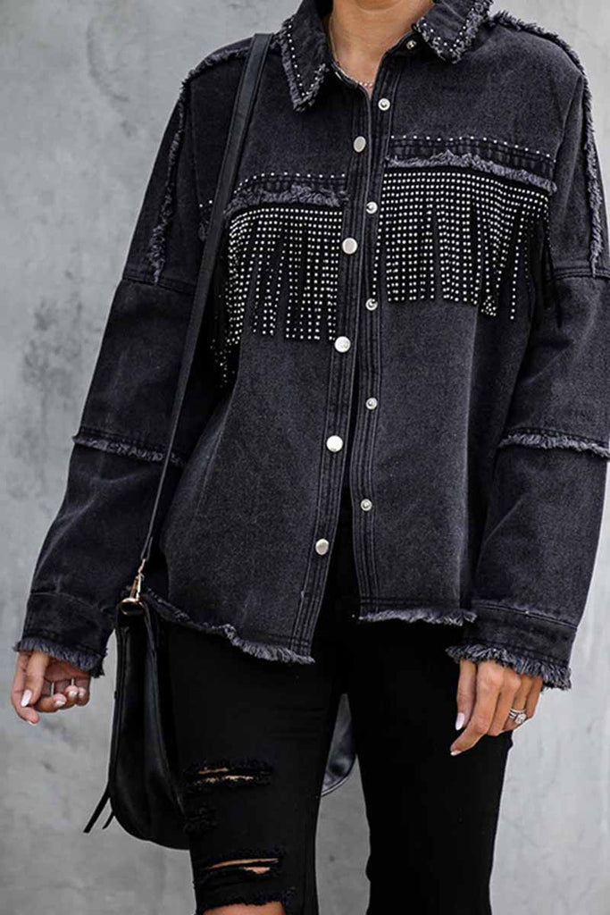Florcoo Long Sleeve Fringed Denim Jacket Tops
