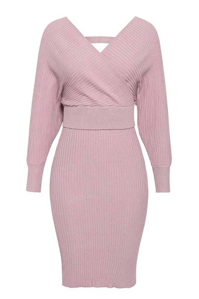 Florcoo Winter Sexy V Neck Wool Dress