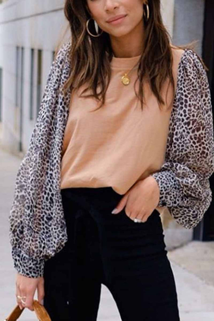 Florcoo Leopard Round Neck Loose Top