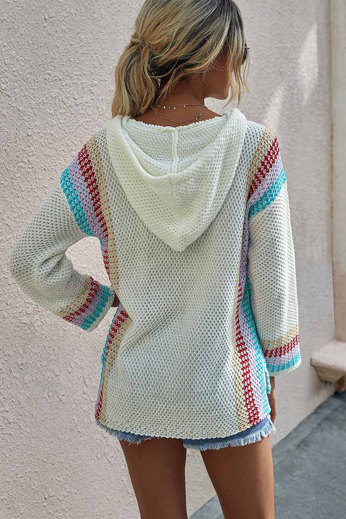 Florcoo Colorblock Loose Sweater Hoodie
