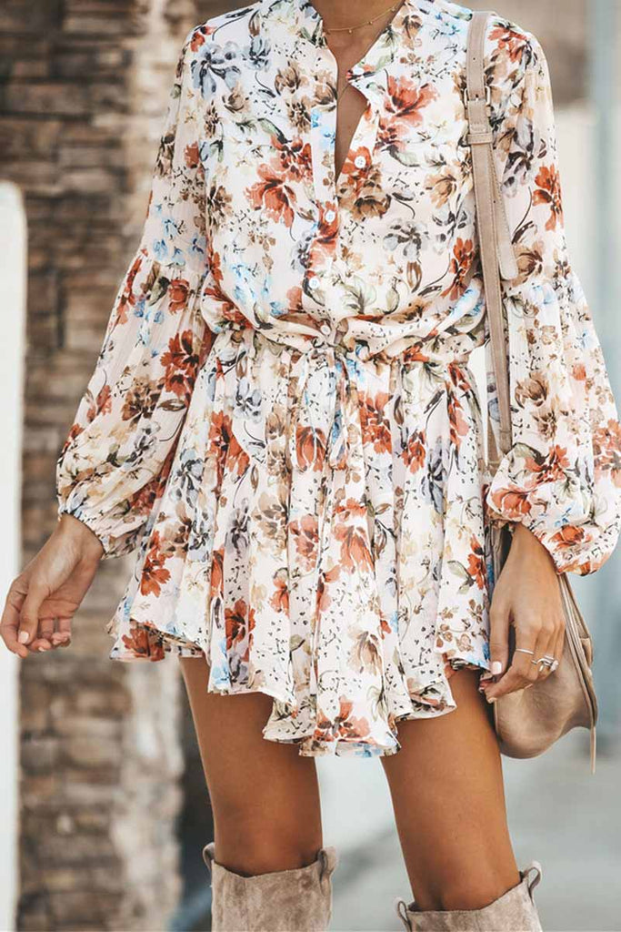 Florcoo Sexy Printed Suit Tie Mini Dresses