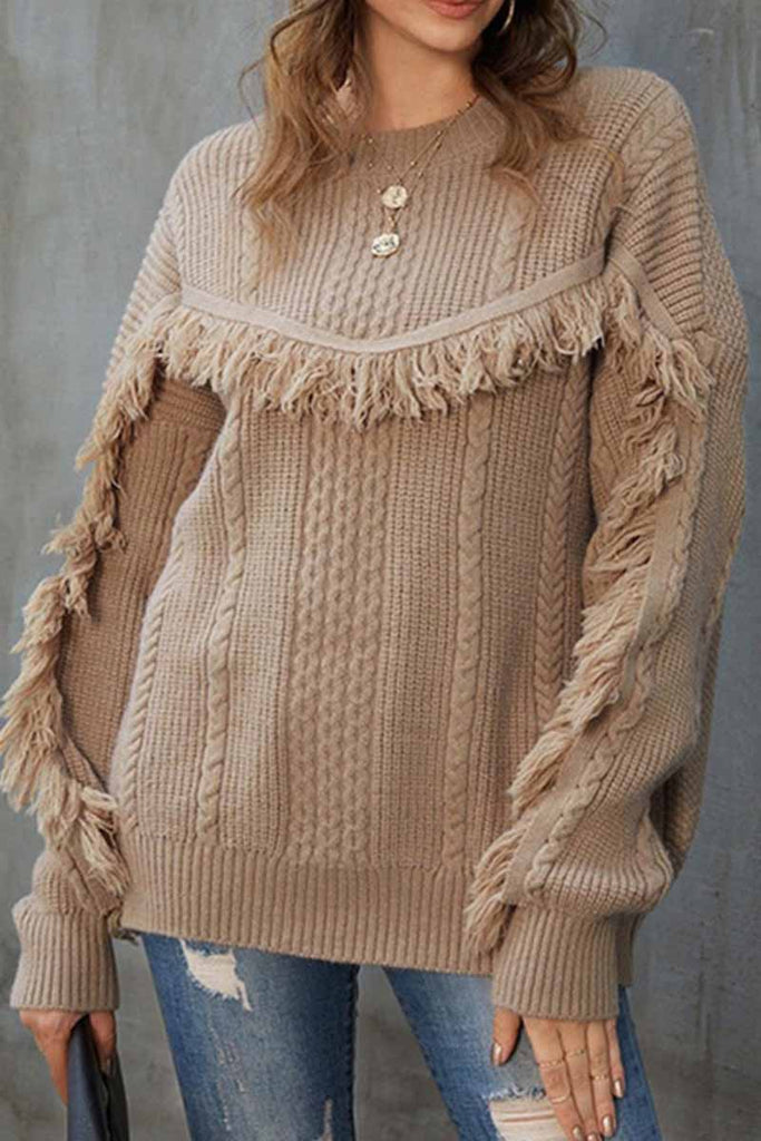 Florcoo Round Neck Loose Tassel Twist Solid Color Sweater