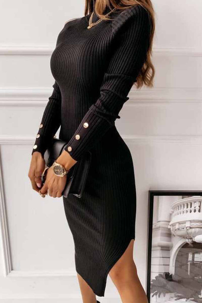 Florcoo Open Back Long Sleeve Solid Color Midi Dresses