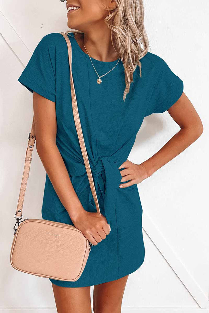 Florcoo Loose Tie Solid Color Short Sleeves Mini Dress